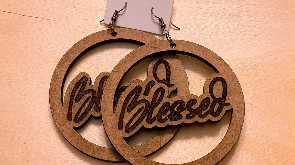 """Blessed"" Acrylic Earrings - Wood"