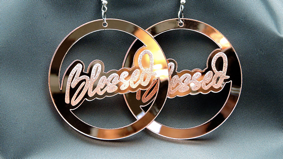 """Blessed"" Acrylic Earrings - Mirrored Rose Gold"