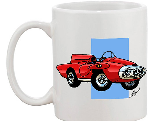 Plymouth XNR Ghia (cartoon) mug blanc carré bleu
