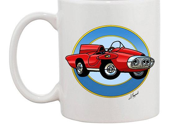 Plymouth XNR Ghia (cartoon) mug blanc rondache claire