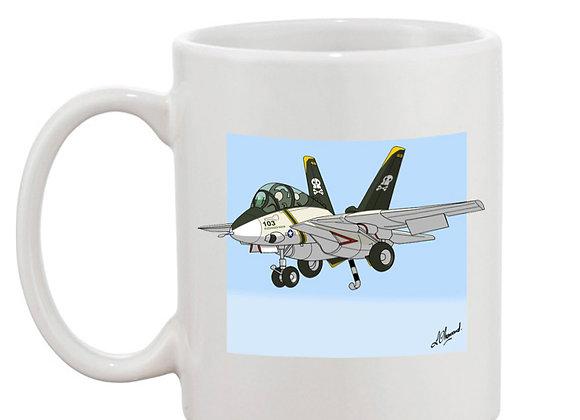 Grumman Tomcat (cartoon) mug blanc carré bleu