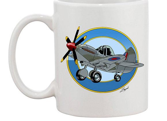 Spitfire à moteur Griffon mug blanc rondache