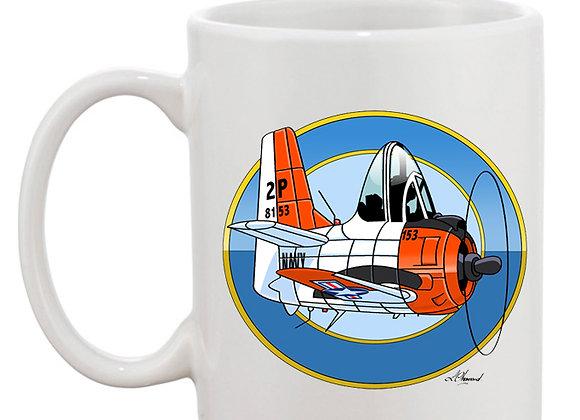 North American T-28 Trojan mug blanc