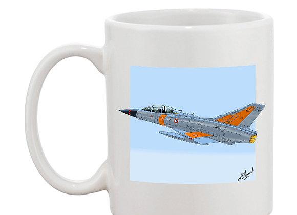 Mirage III mug blanc carré bleu
