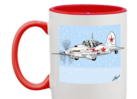 Sturmovik mug rouge blanc carré neige