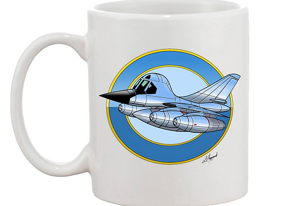 B-58 Hustler mug blanc rondache fond bleu clair