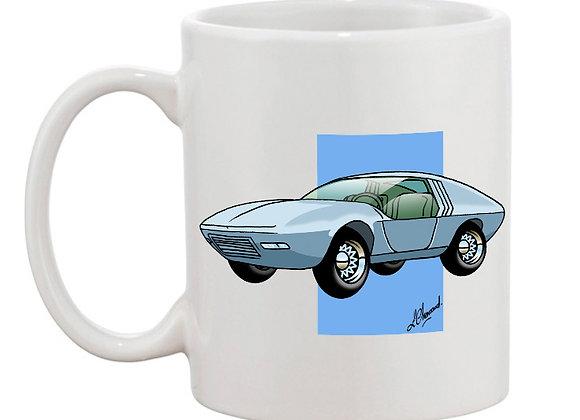 Opel CD concept car mug blanc carré bleu