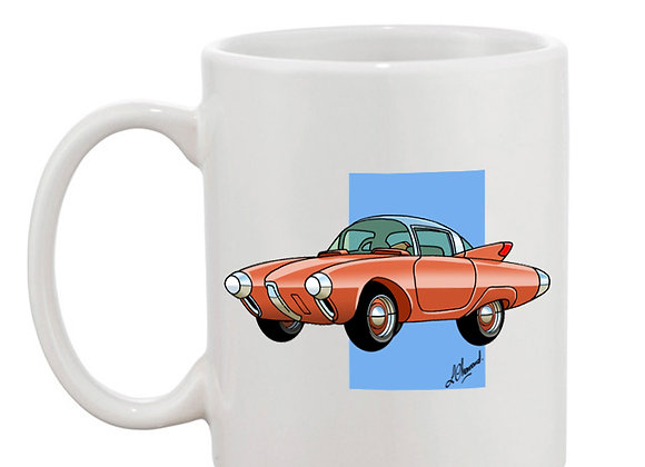 Oldsmobile Golden Rocket mug blanc carré bleu