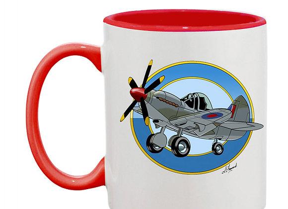 Spitfire à moteur Griffon mug rouge rondache