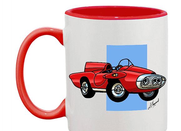 Plymouth XNR Ghia (cartoon) mug rouge carré bleu