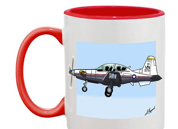Beechcraft Texan II mug rouge carré bleu