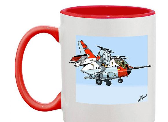 Hiller mug rouge carré bleu