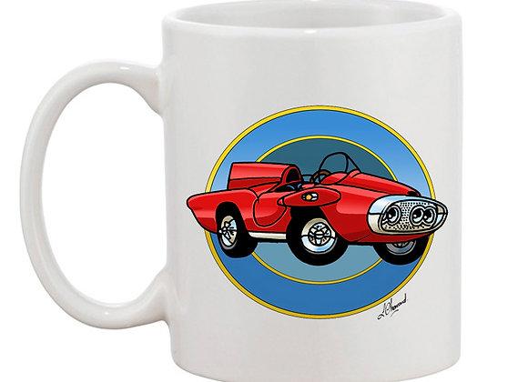 Plymouth XNR Ghia (cartoon) mug blanc rondache foncée