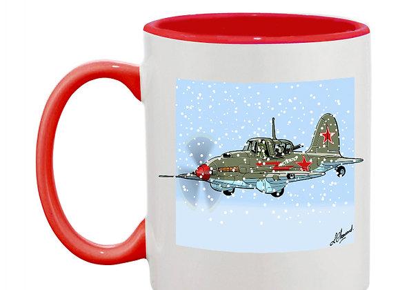 Sturmovik mug rouge vert carré neige