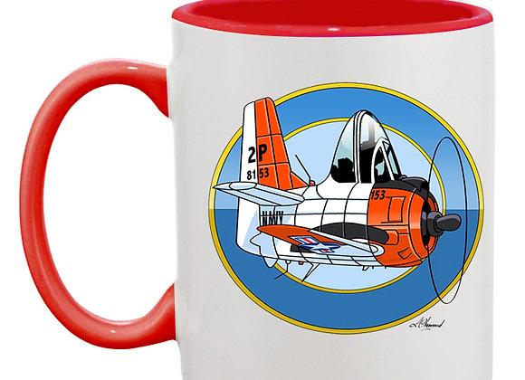 North American T-28 Trojan mug rouge