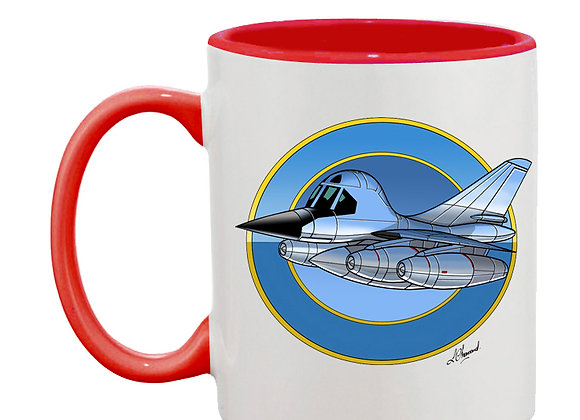 B-58 Hustler mug rouge rondache fond bleu foncé