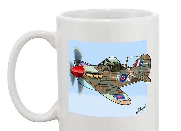 Spitfire MK1 mug blanc carré bleu