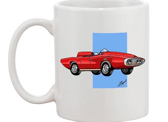 Plymouth XNR Ghia mug blanc carré bleu