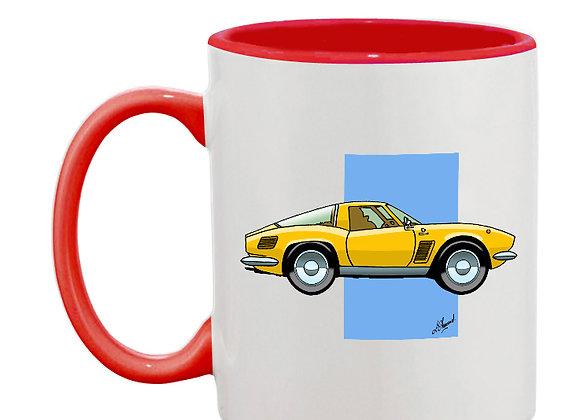 Iso Griffo mug rouge carré bleu