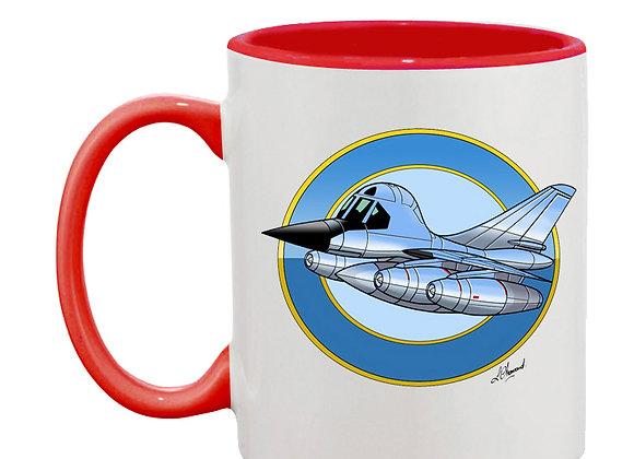 B-58 Hustler mug rouge rondache fond bleu clair