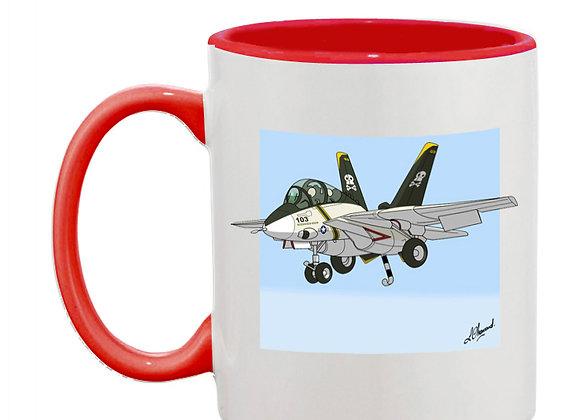 Grumman Tomcat (cartoon) mug rouge carré bleu