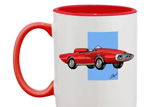 Plymouth XNR Ghia mug rouge carré bleu