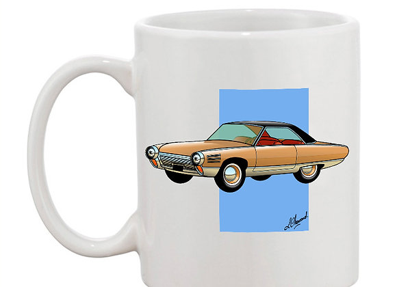 Chrysler turbine mug blanc carré bleu