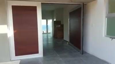 Puerta de Pivote color madera y anodizado clear