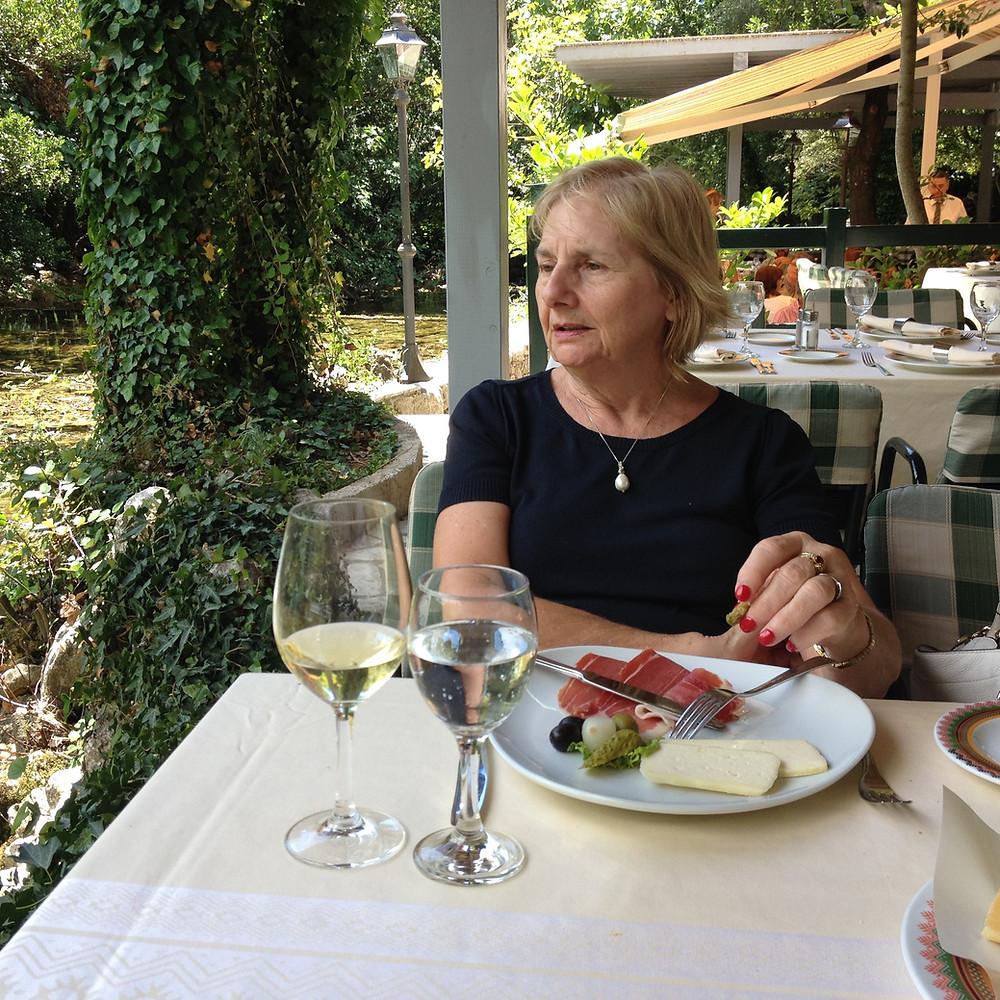 Jill Fenwick eating entree at Konavoski Dvori in Croatia