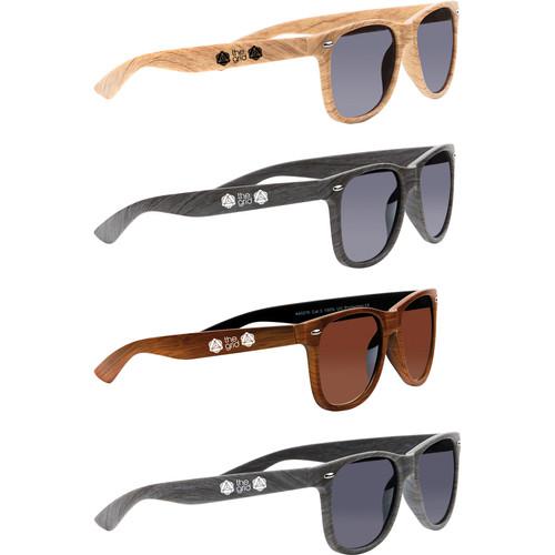 Wood-Tone Branded Sunglasses