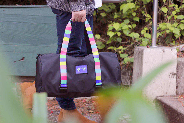 Branded Duffel Bag with Customizable Straps