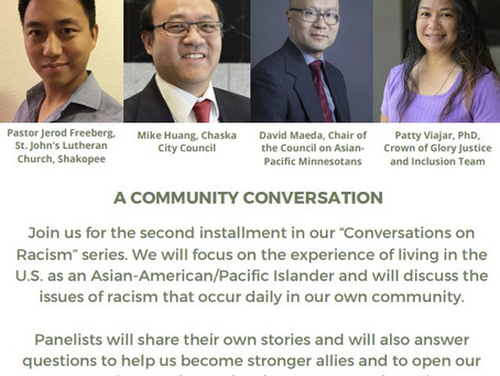 """Upcoming Event: """"Conversations on Racism: Our Asian-American Neighbors"""""""
