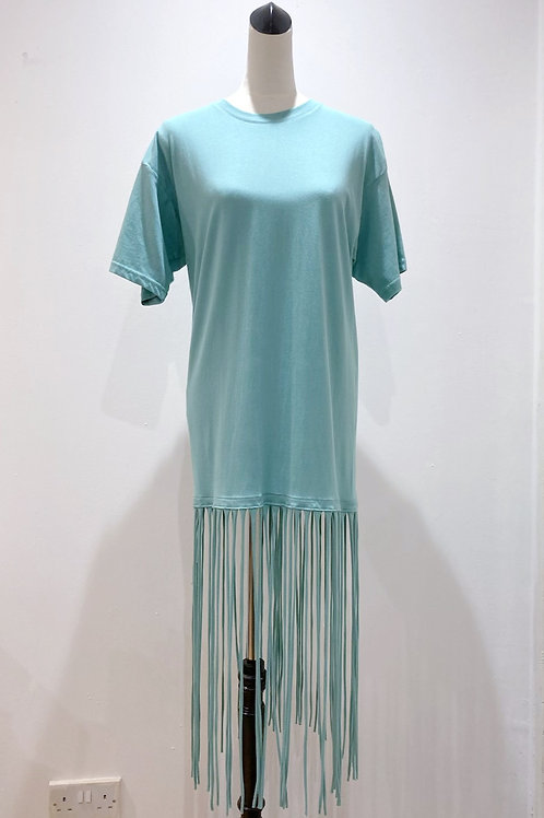 Green T-shirt Dress with Recycled T-shirt Fringe