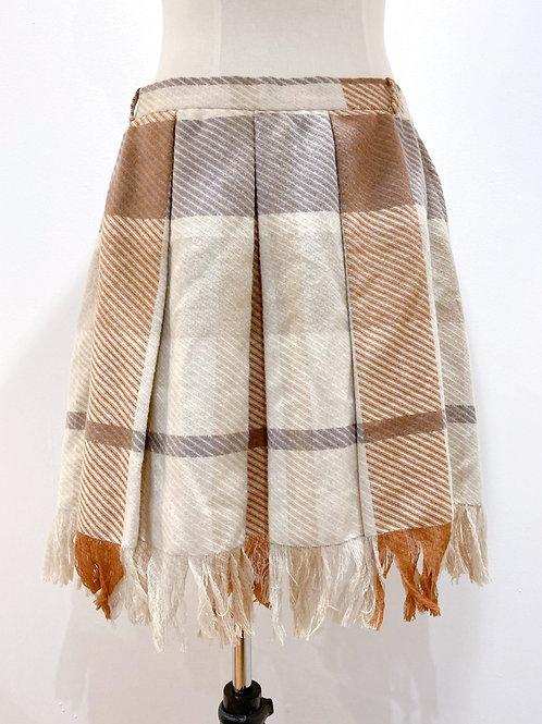 Reworked Wool Skirt with Frayed Hem