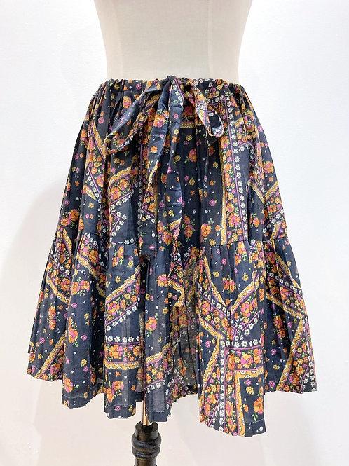 Retro Pleated Drawstring Skirt