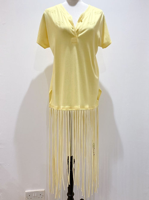 Yellow T-shirt Dress with Recycled T-shirt Fringe