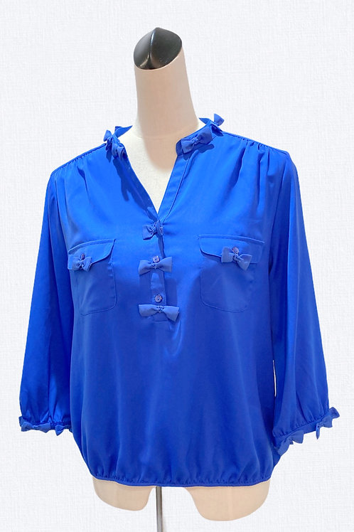 Blouse with Bow Trim