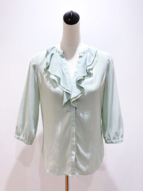 Mint Ruffle Blouse with Beadwork