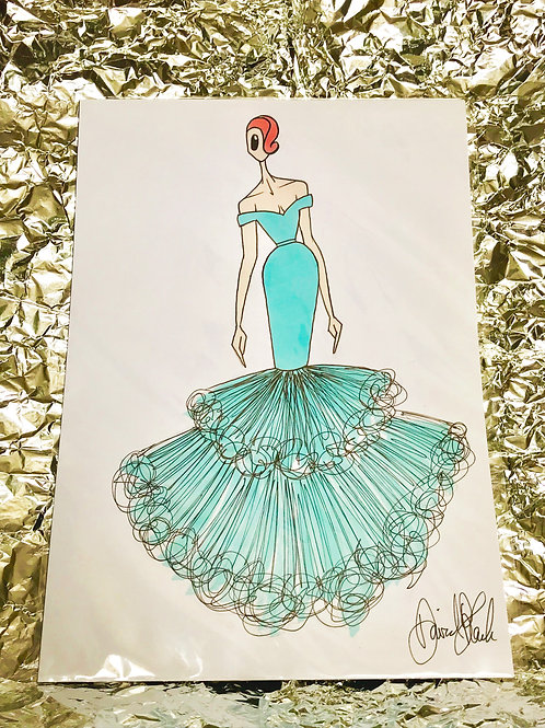 Blue Strapless Gown Illustration