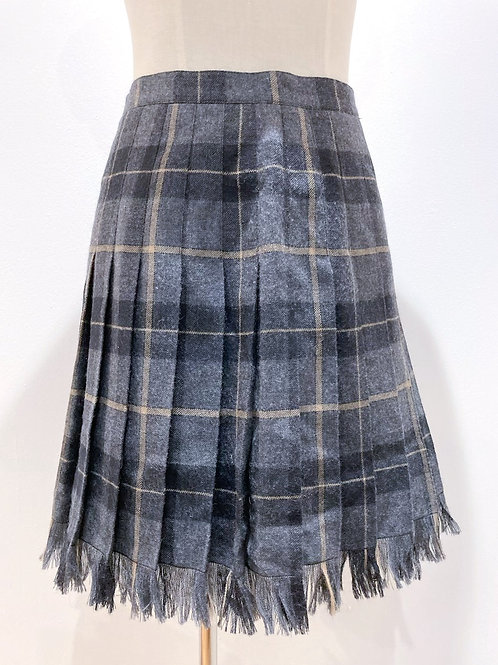 Reworked Wool Skirt with Frayed Hem