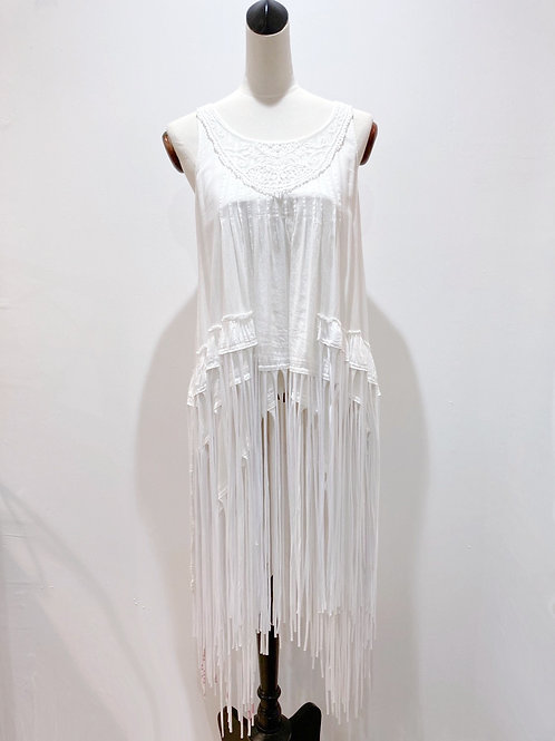 Tiered Top with Recycled T-shirt Fringe