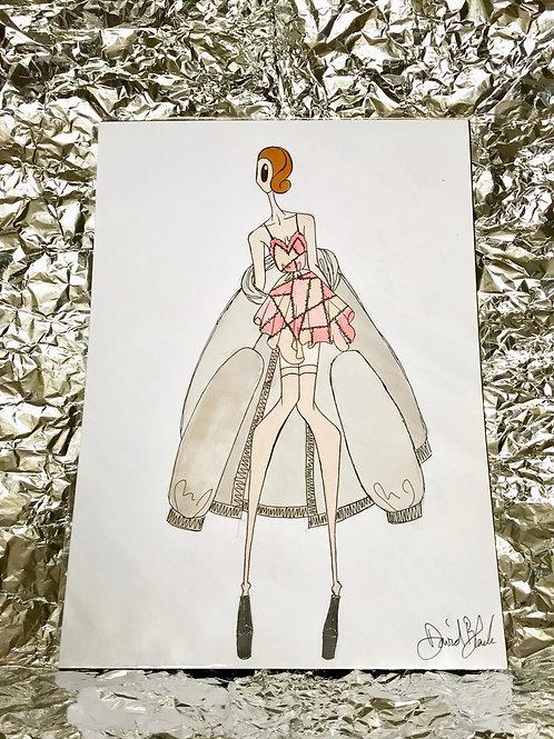 Pink Patchwork Dress Illustration