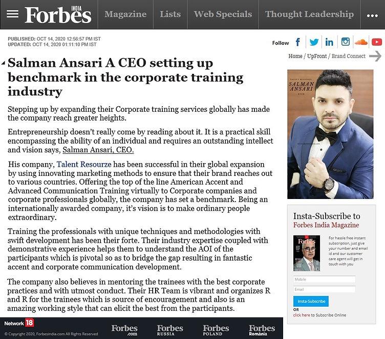 Forbes India - Salman Ansari CEO Talent
