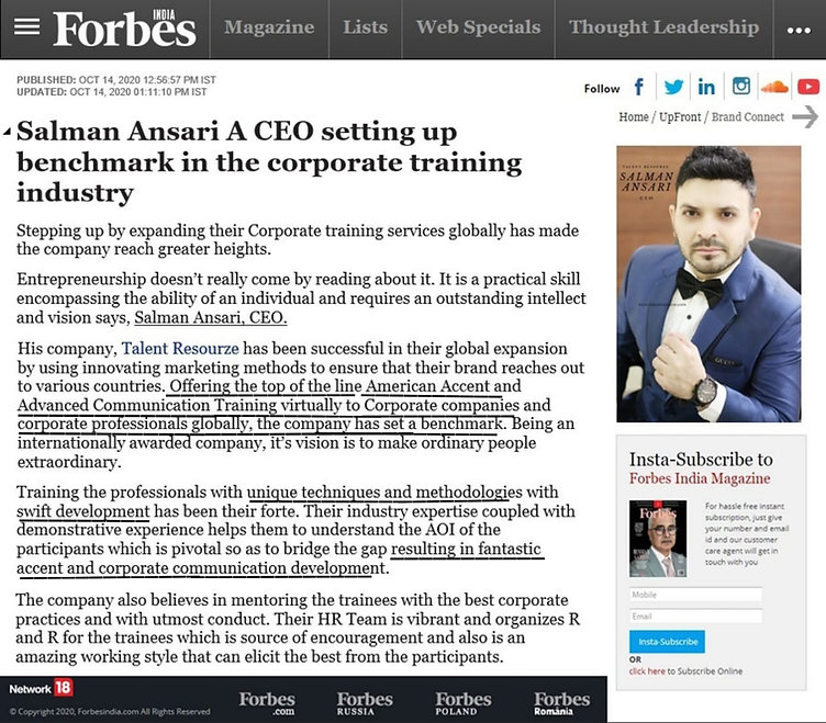 Forbes Talent Resourze Salman Ansari CEO