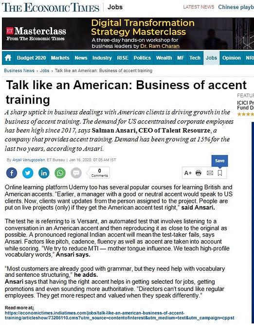 Economic Times Newspaper - Talent Resour