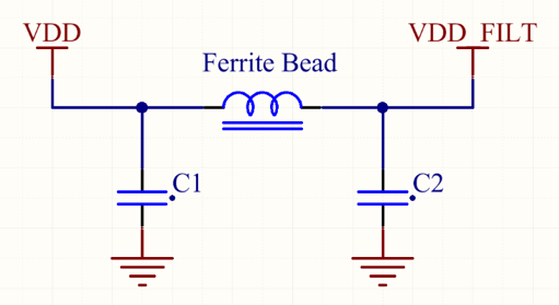 Example of a PI filter to filter a power supply line [3].
