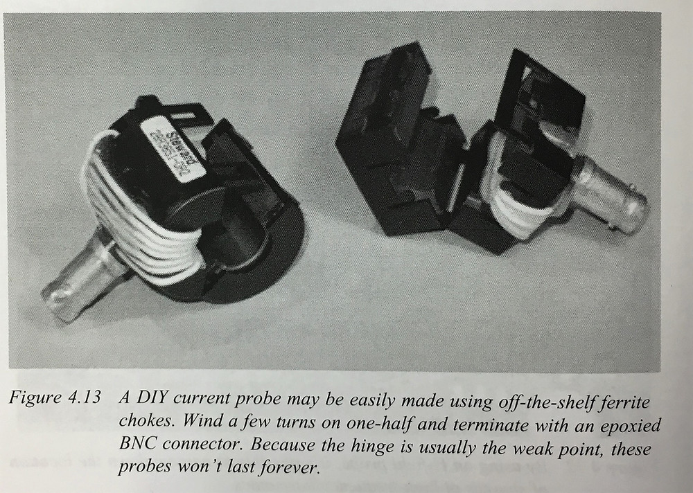 DIY current probe [EMI Troubleshooting Cookbook for Product Designers, Patrick G. André and Kenneth Wyatt].
