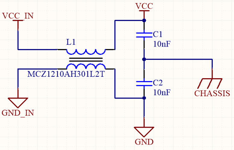 DC power line filter with common-mode choke.