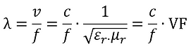 Wavelength vs. frequency formula. Wavelength in cable and PCB trace vs. air.