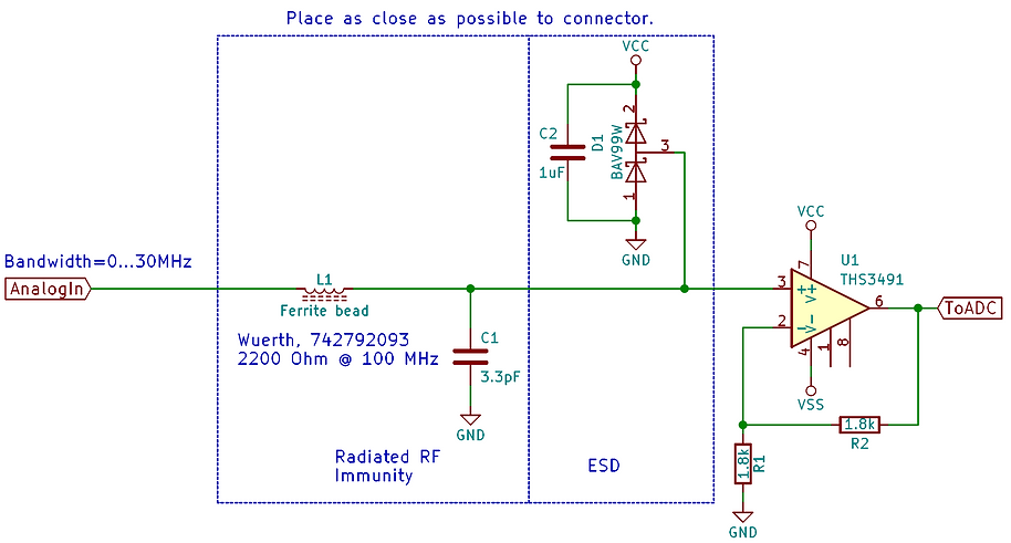 EMI analog input buffer filter